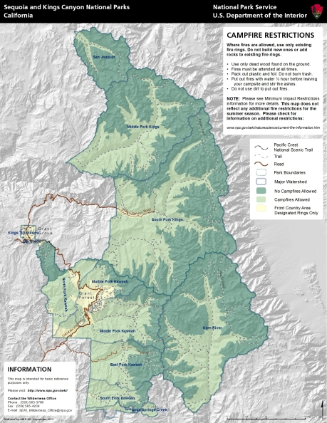 Campfire Restrictions, Sequoia and Kings Canyon National Parks (not current)